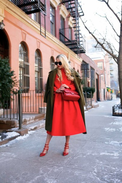 atlantic pacific blogger red skirt red sweater winter coat red heels skirt sweater coat shoes sunglasses