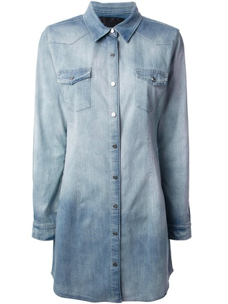 dress philip plein washed denim dress shirt dress