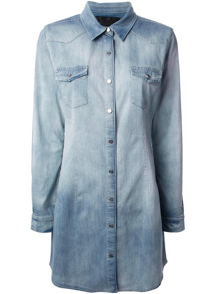 dress shirt dress philip plein washed denim dress