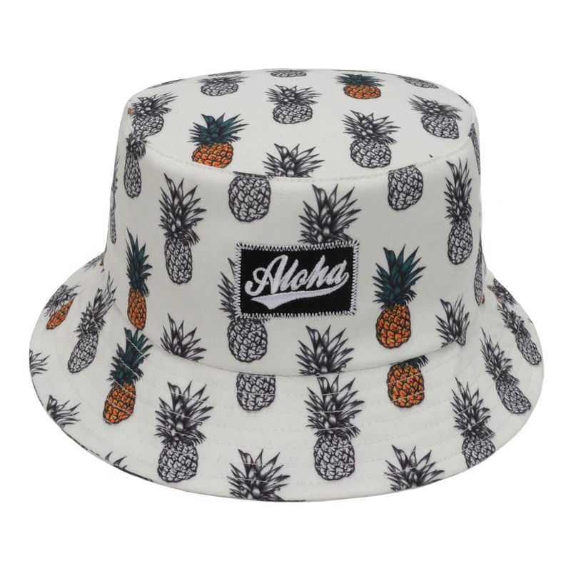 Unisex Boonie Hawaiian Bucket Hat White Pineapples Fruit Fishing Outdoor  Sun Cap ed6322c12cb