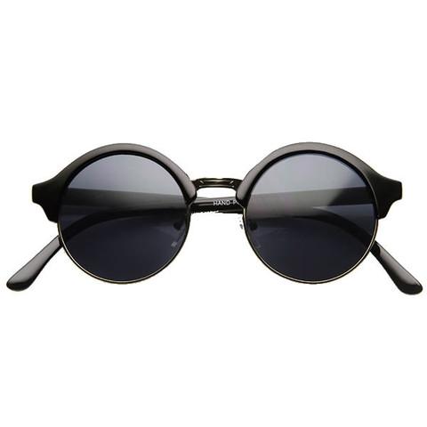 New Half Frame Circle Round Vintage Professor Steampunk Sunglasses 858                           | zeroUV
