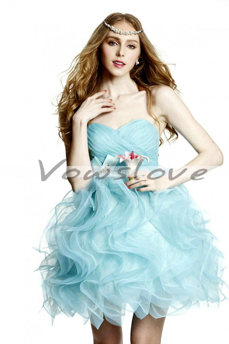 Sweetheart sleeveless layered skirt and chest sexy mini prom dress vowslove.com