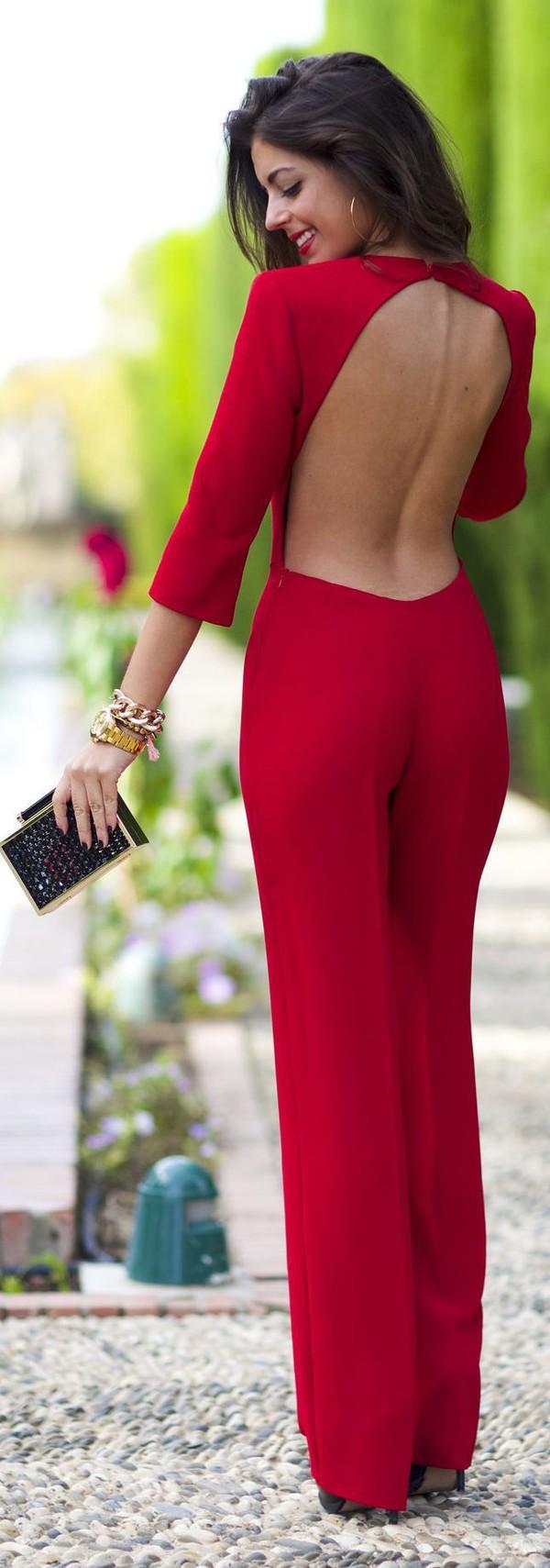 Jumpsuit: cocktail, red, dress, backless jumpsuit, wide leg ...