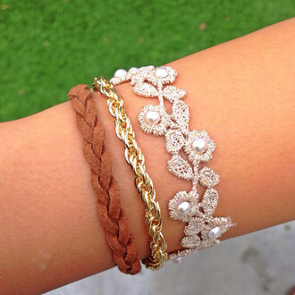 jewels bracelets cute braided natural floral lace gold chain pearl layered arm candy