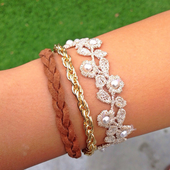 pearl jewels gold bracelets cute braided natural floral lace chain layered arm candy