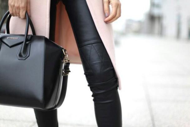 pants stitching leather pan coat long coat bag leather leather bag leather pants leather leggings classy elegant formal black jeans