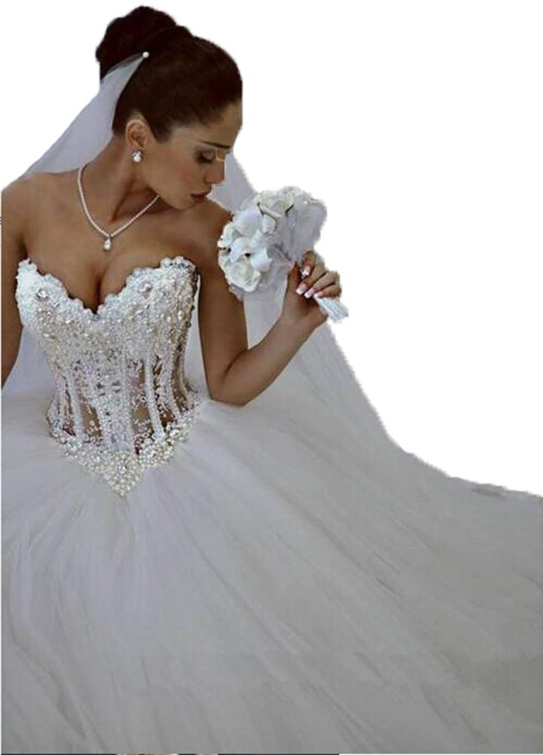 Lovelybride Glamorous Sweetheart with Pearls Wedding Dress ...