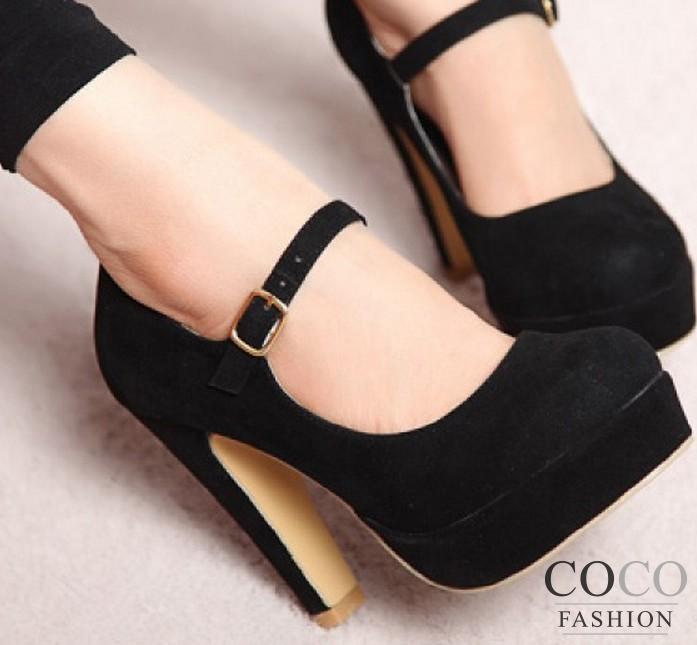 Black Strap Platform Heels  Tsaa Heel