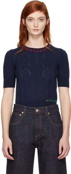 Carven sweater embroidered navy