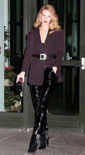 jacket,blazer,belt,boots,rosie huntington-whiteley,model off-duty,polka dots,pants,shoes