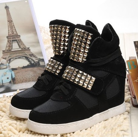 2013 New Fashion Korean Velcro Rivets Wedges Sneakers For Women Winter Casual High top Genuine Leather Shoes Woman Free Shipping-in Women's Fashion Sneakers from Shoes on Aliexpress.com