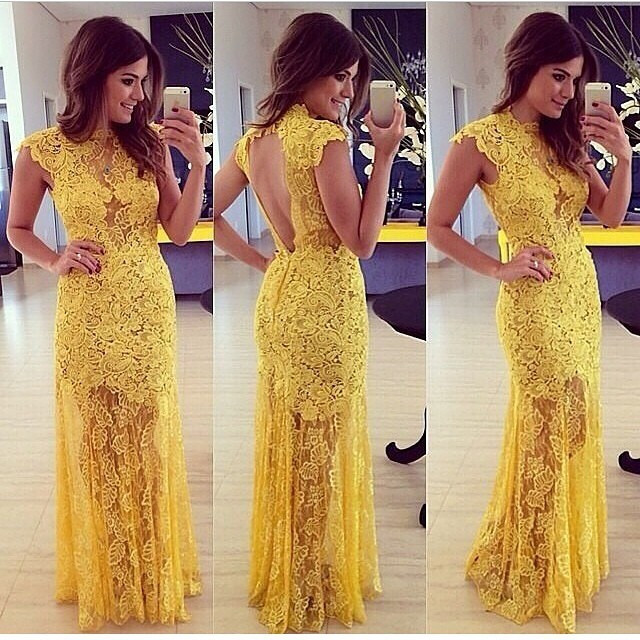 """hello sunshine!"" yellow side split maxi laces dress – glamzelle"