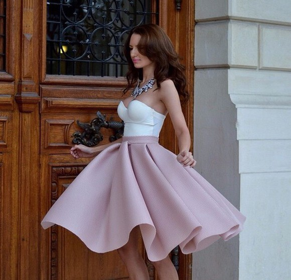 pink skirt scuba skirt circle skirt pleated skirt long skirt scuba puff circle skirt mini