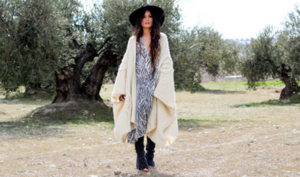madame rosa sweater dress jeans shoes hat jewels