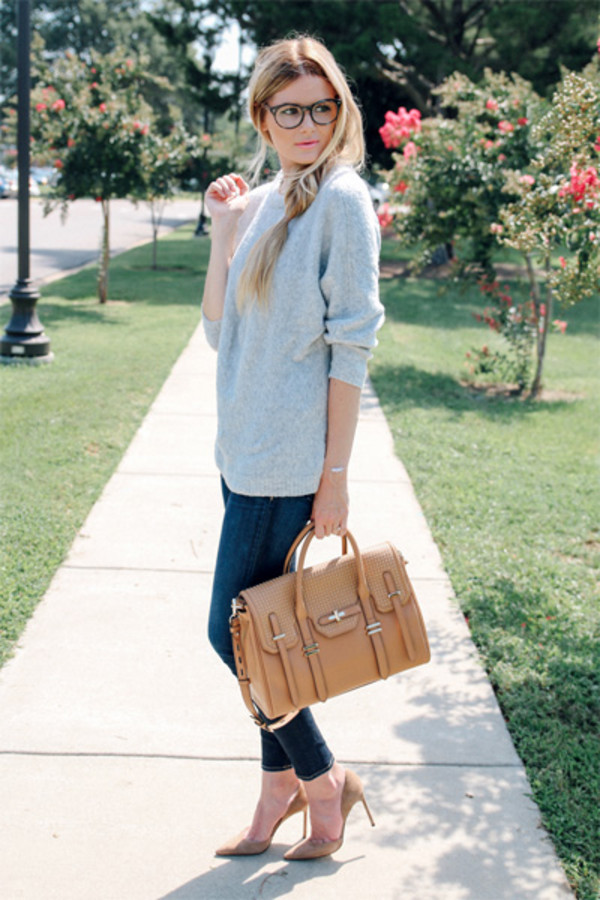 sweater jeans sunglasses bag