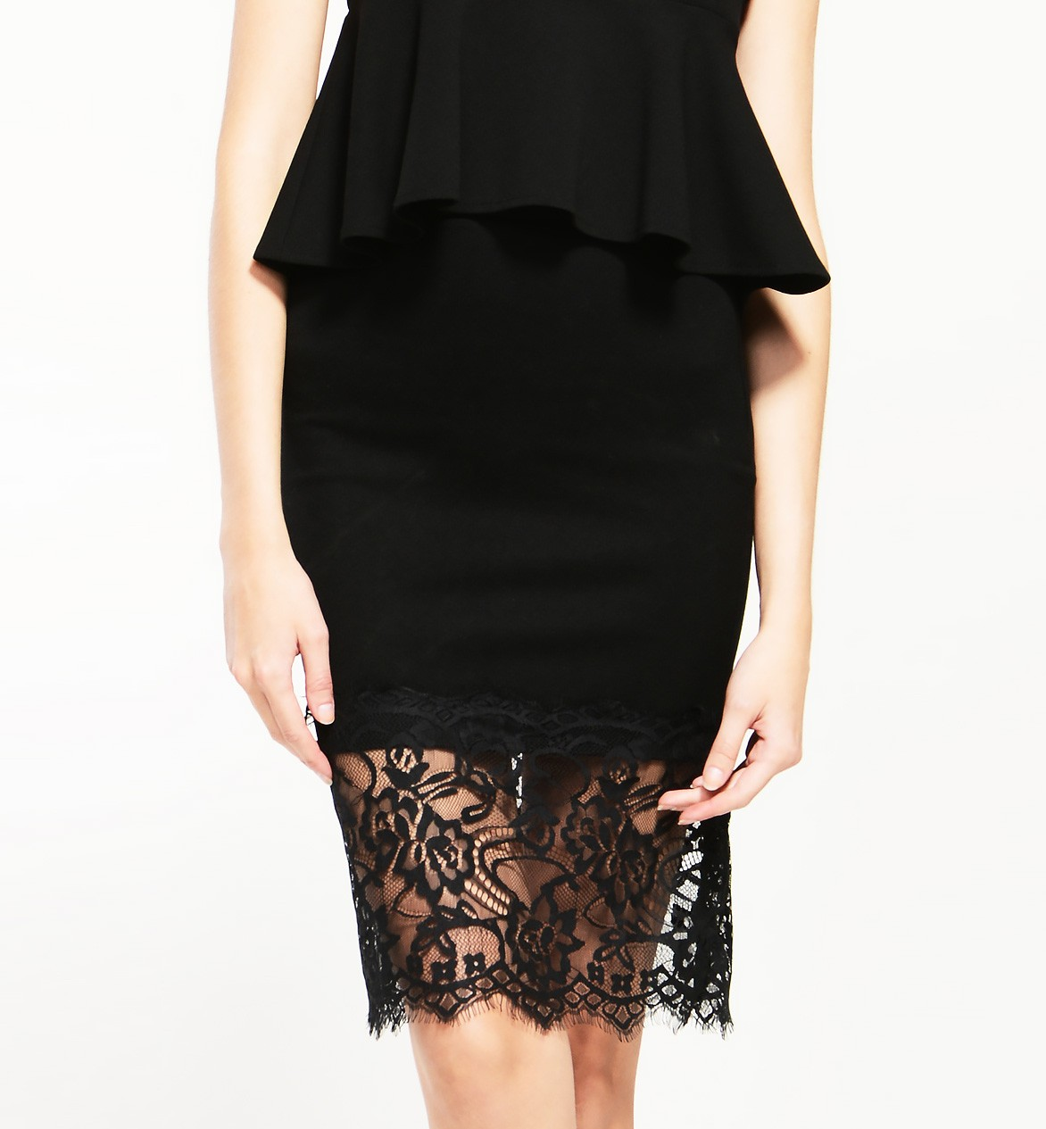 Pencil Skirt With Sheer Lace Hem