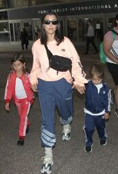 shoes,kourtney kardashian,long sleeves,sneakers,pants,bag,sweatpants,sunglasses,summer,summer outfits