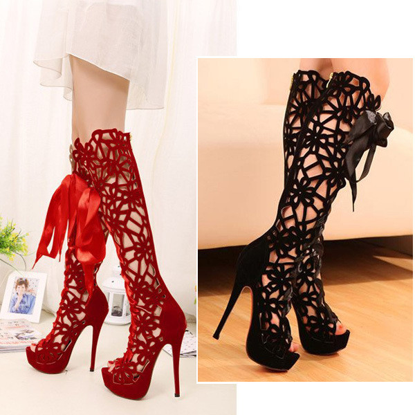 shoes, fish mouth shoes, women, women's boots, showy4you, open toes, hollow out, high heels ...