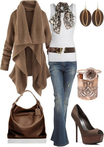 sweater shirt fall outfits fall outfits winter outfits november december cardigan ruffle brown jeans tank top coat belt blouse fashion top