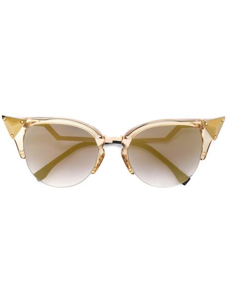 Fendi Eyewear - cat eye sunglasses - women - metal - 52, Grey, metal in metallic