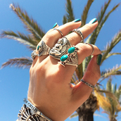 jewels,ring,boho,bohemian,turquoise,thumb ring,knuckle ring,silver ring,moon,bracelets,vanessa hudgens,gillian zinser