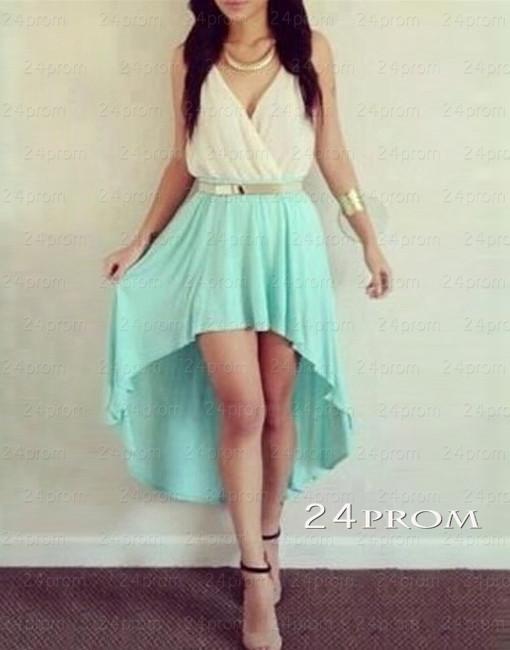 Line light green asymmetric prom dresses, homecoming dresses