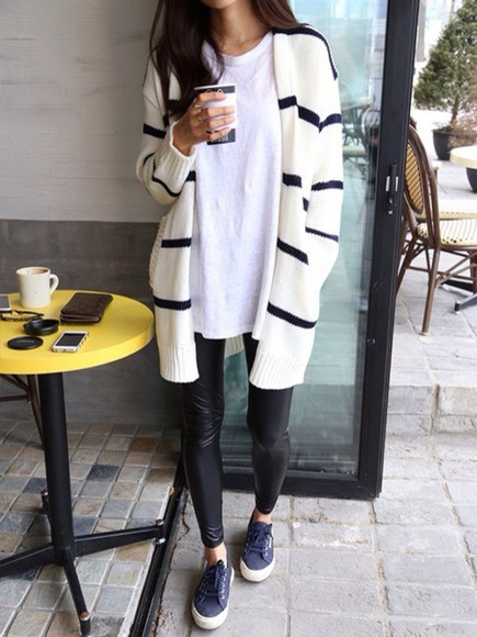 outfit style black cardigan stripes fashion