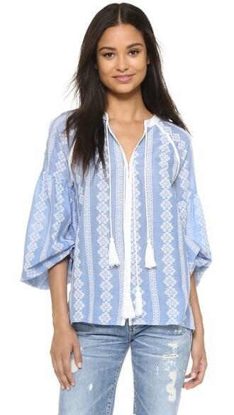 blouse boho white blue top