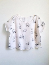 shirt,crop tops,polar bear,t-shirt,bear,white t-shirt,top