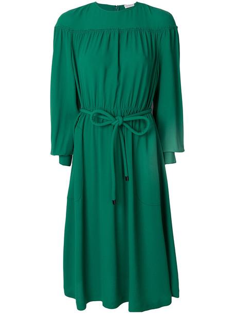 Veronique Leroy dress midi dress women midi silk green