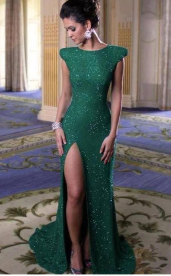 green dress long dress