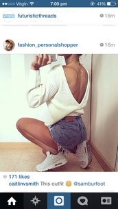 sweater,white,jumper,denim,shorts,shoes,if u know where to get any of this outfit pls let me know,belt,skirt,coat,gloves,hair accessory,underwear,top,white jumper,deep v back,backless,beige,cute sweaters,blouse,shirt,v cut,knitwear