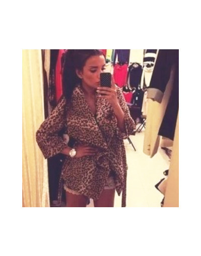 Leopard long jacket woolen print thicken outwear coat over trench