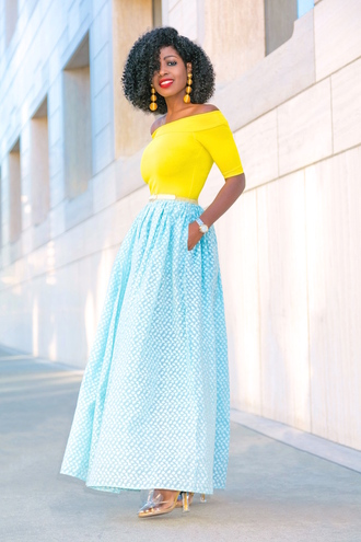 blogger top skirt jewels shoes yellow top maxi skirt