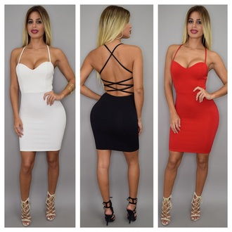dress black red white dress