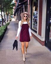 dress,burgundy,mini dress,white blouse,ankle boots,high heels boots,handbag,sunglasses,hat