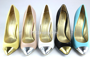 New women sexy pointy toe cap faux leather high heel stiletto pump shoe size