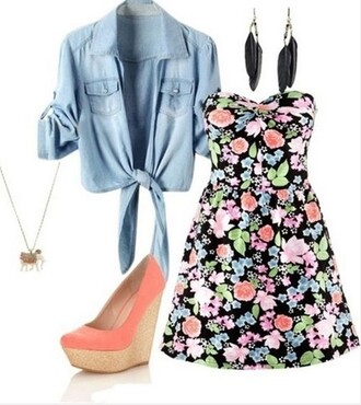 dress feather earrings flowers dress flowers feathers peach heels peach peach shoes denim shirt
