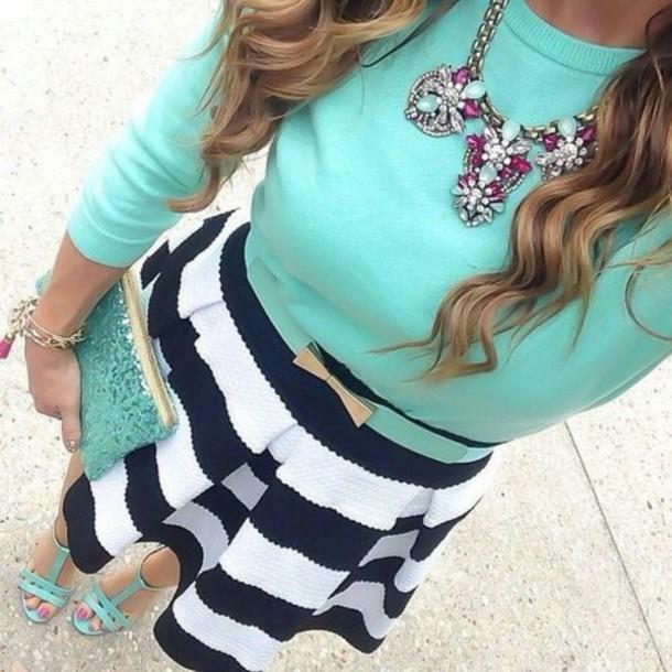 skirt flare skirt black and white striped skirt