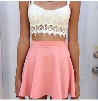 tank top lace bralette white coral shirt new look pink skirt crochet skirt
