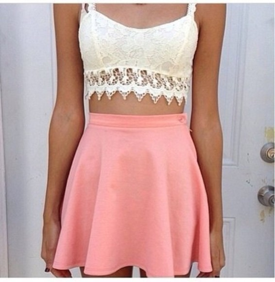 coral shirt tank top lace bralette white new look pink skirt crochet skirt
