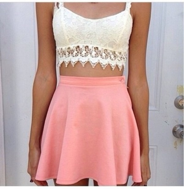tank top lace bralette white coral shirt pink skirt crochet skirt
