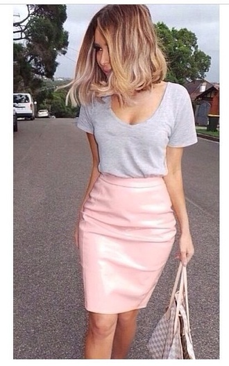 skirt pink skirt plastic skirt gray shirt