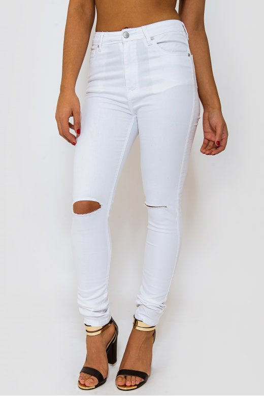 White Knee Ripped Skinny Jeans - from The Fashion Bible UK