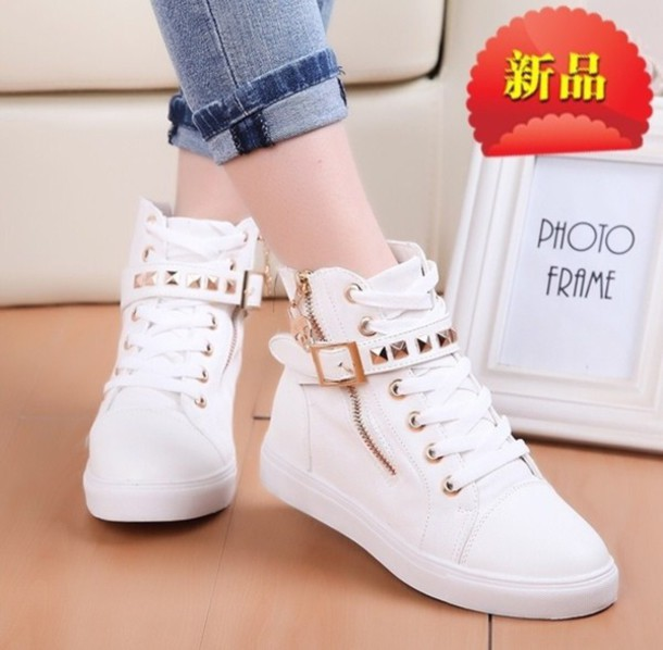 95ea64f56 shoes white sneakers with gold studs