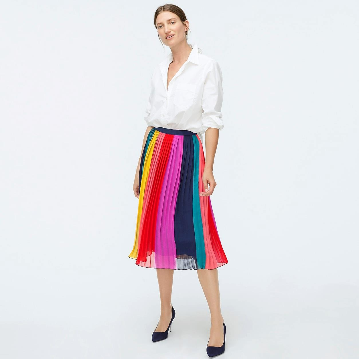 Sunburst Pleated Midi Skirt In Rainbow Colorblock