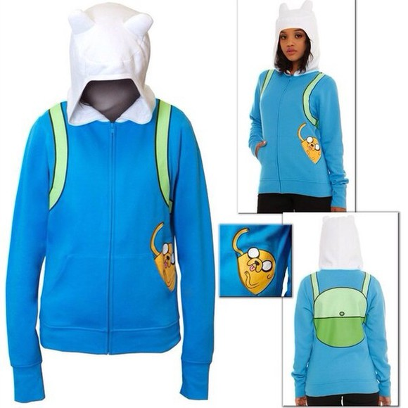 color celebrity white sweater cool adventure time finn jake blue green