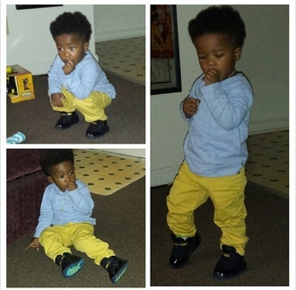 pants young baby model cute cyeer shoes shirt follow him on ig