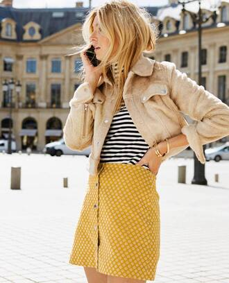 skirt tumblr mini skirt yellow yellow skirt button up top stripes striped top jacket nude jacket
