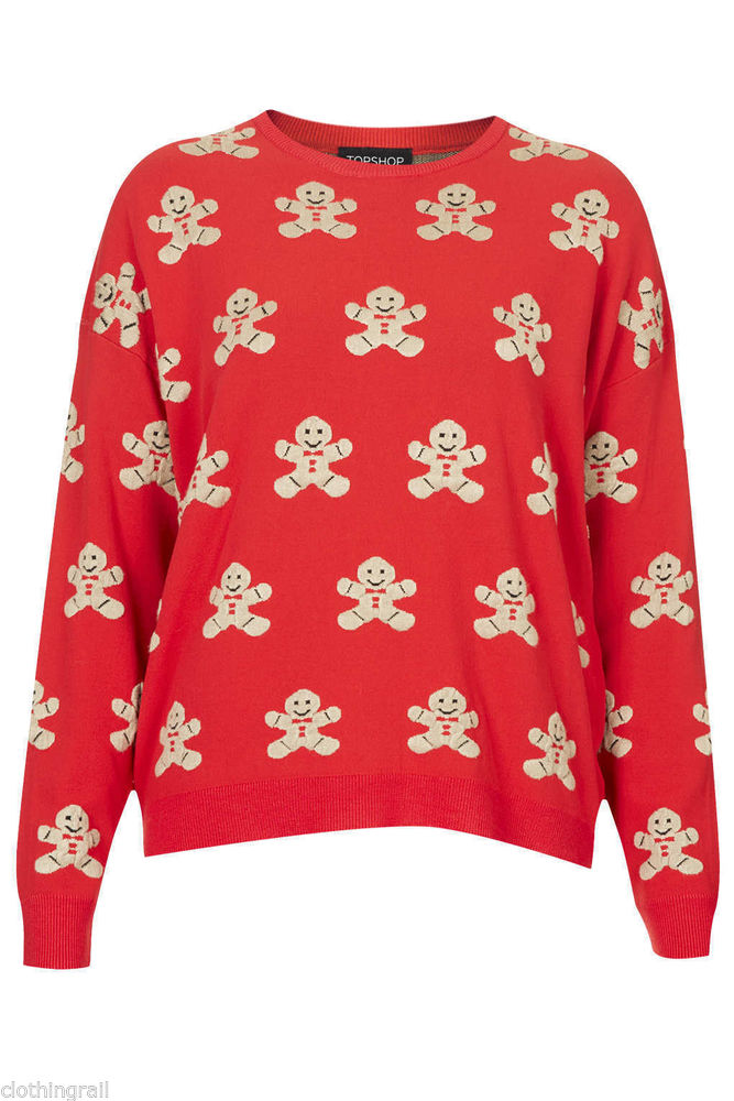 BNWT Ladies Topshop RED Knitted Gingerbread MAN Jumper UK 4 B68 | eBay